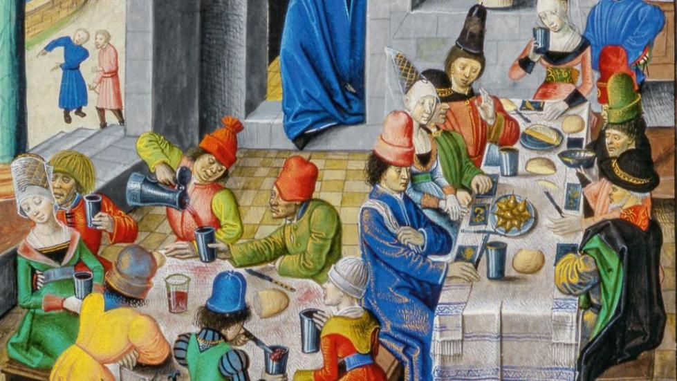 Принятие пищи в средневековье
