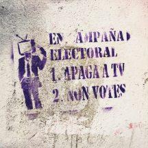 Streetart Apaga TV Santiago de Compostela