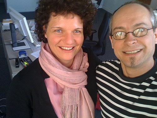 Anne Christensen & ich im neuen Büro in der Stabi