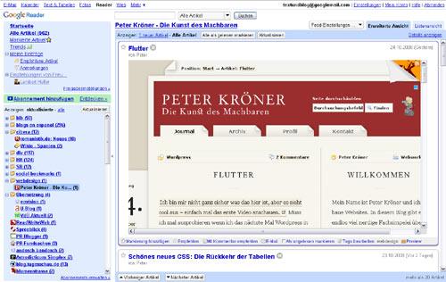 So sieht die Vorschau eines Blogartikels im Google Reader aus