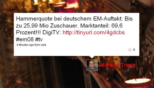 TV-Quote des deutschen EM-Auftaktes auf Twitter gepostet
