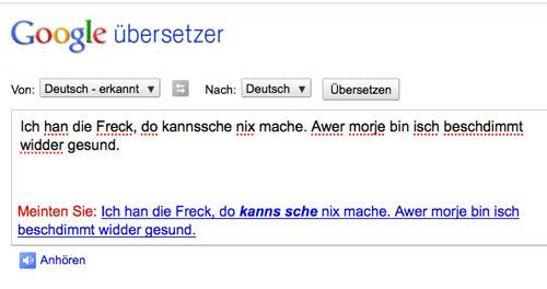 Google Übersetzer versucht sich am Saarländischen