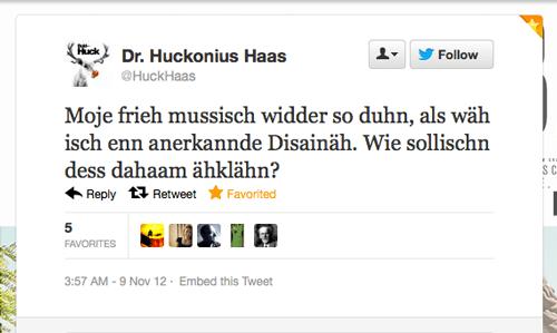 Tweet der Woche von @HuckHaas