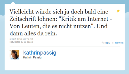 Tweet von Kathrin Passig