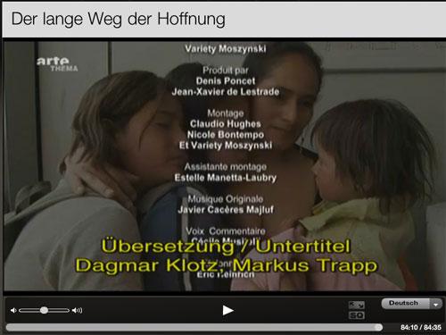 «Der lange Weg der Hoffnung» - Abspann mit Nennung der Übersetzer