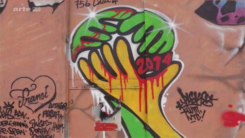 Kritische Wandbemalung zur WM - Ausschnitt aus Doku zum Maracana-Stadion