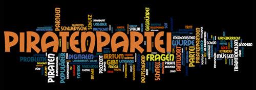 Piratenpartei - Wordle aus dem Artikeltext auf Futurezone gebildet