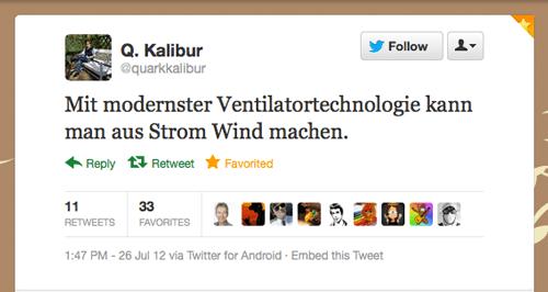 Tweet der Woche von @quarkkalibur