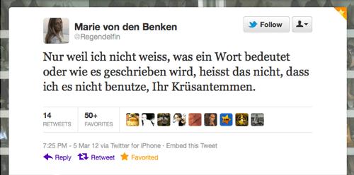 Tweet der Woche von @Regendelfin