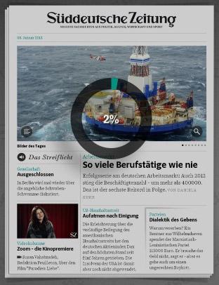 Die SZ auf dem iPad, Ausgabe 3.1.2013