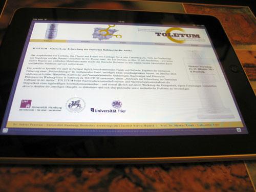 Toletum auf dem iPad
