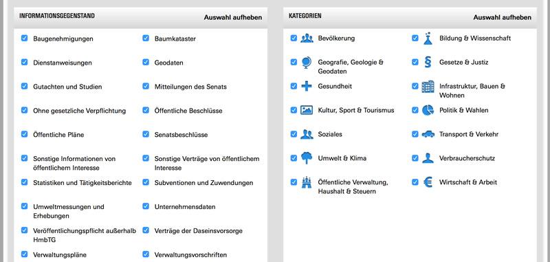 Erweiterte Suche Transparenzportal