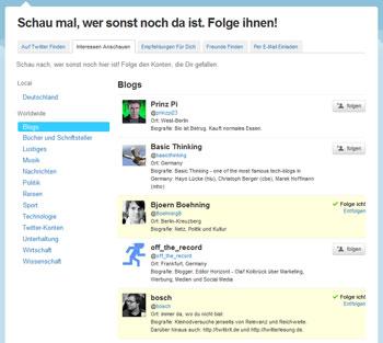 Twitter-Vorschläge nach Themen, hier Blogs