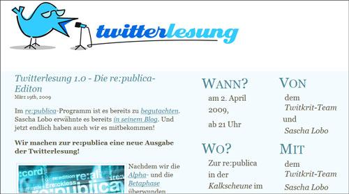 Twitterlesung in Berlin