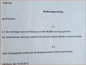 Änderungsvertrag Stabi: volle Stelle ab 1.10.2012