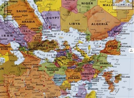 What's Up? South! Die Weltkarte auf den Kopf gestellt.