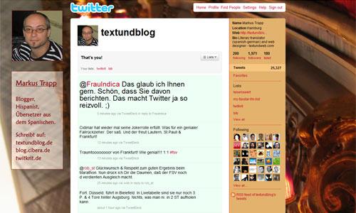 Twitter - seit 12.3.2007 schreibe ich täglich mehrfach auf @textundblog