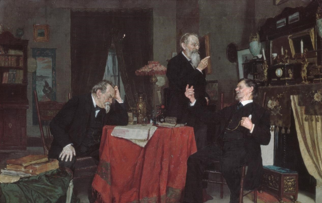 """A Discussion"" (Louis Moeller, ca. 1890–95)"
