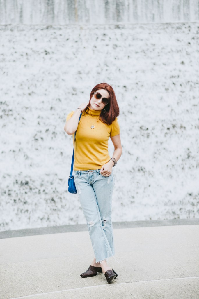 YELLOW TOP, CROPPED FLARES, MULES, BLUE CROSSBODY, WATER WALL, HOUSTON, WATERFALLS, RED HAIR