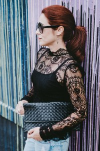 lace blouse, collar details, black leather clutch, diy clutch, red hair
