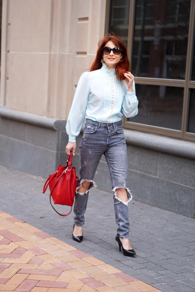 STREET CHIC, STREET STYLE, DISTRESSED JEANS, RED HAIR, ZARA, VINTAGE