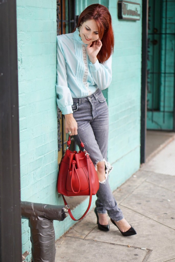 RED BAG, VINTAGE, LACE TOP, TEAL WALL, HOUSTON, CASUAL CHIC