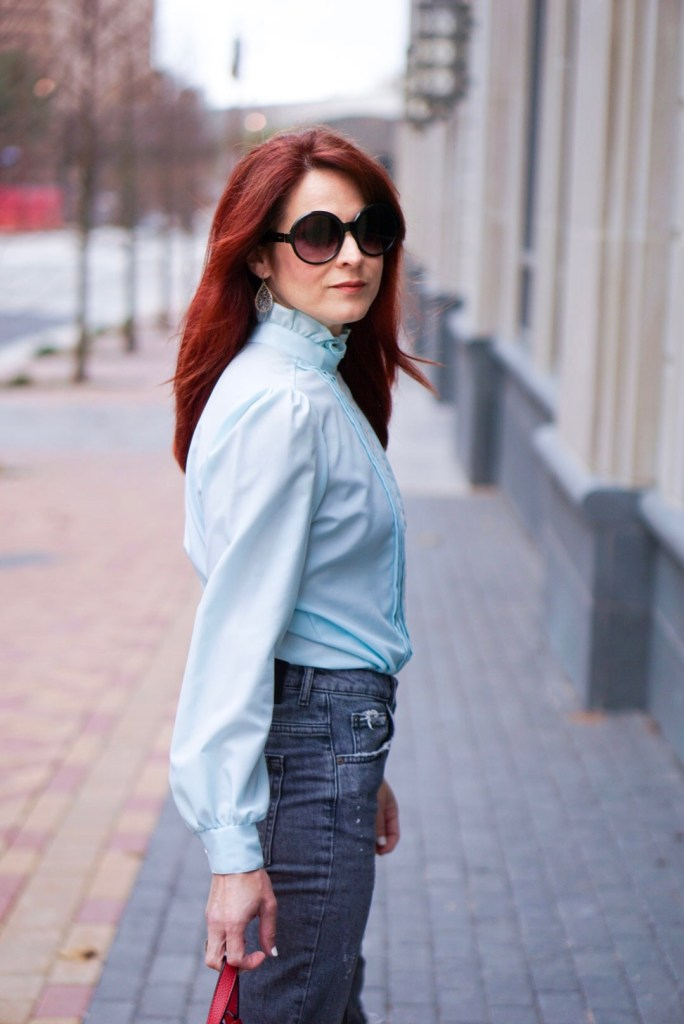 BLUE TOP, LACE, LACE COLLAR, RED HAIR