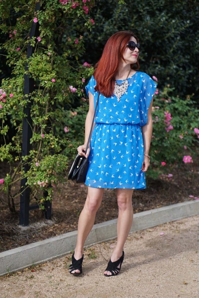 EASTER DRESS, BIRD PRINT DRESS, FOREVER 21, RED HAIR, TALBOTS NECKLACE