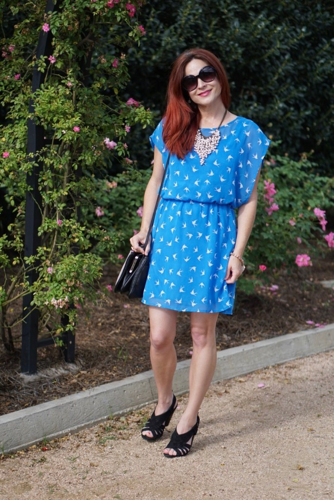 BLUE DRESS, PEARL JEWELRY, NINEWEST BAG
