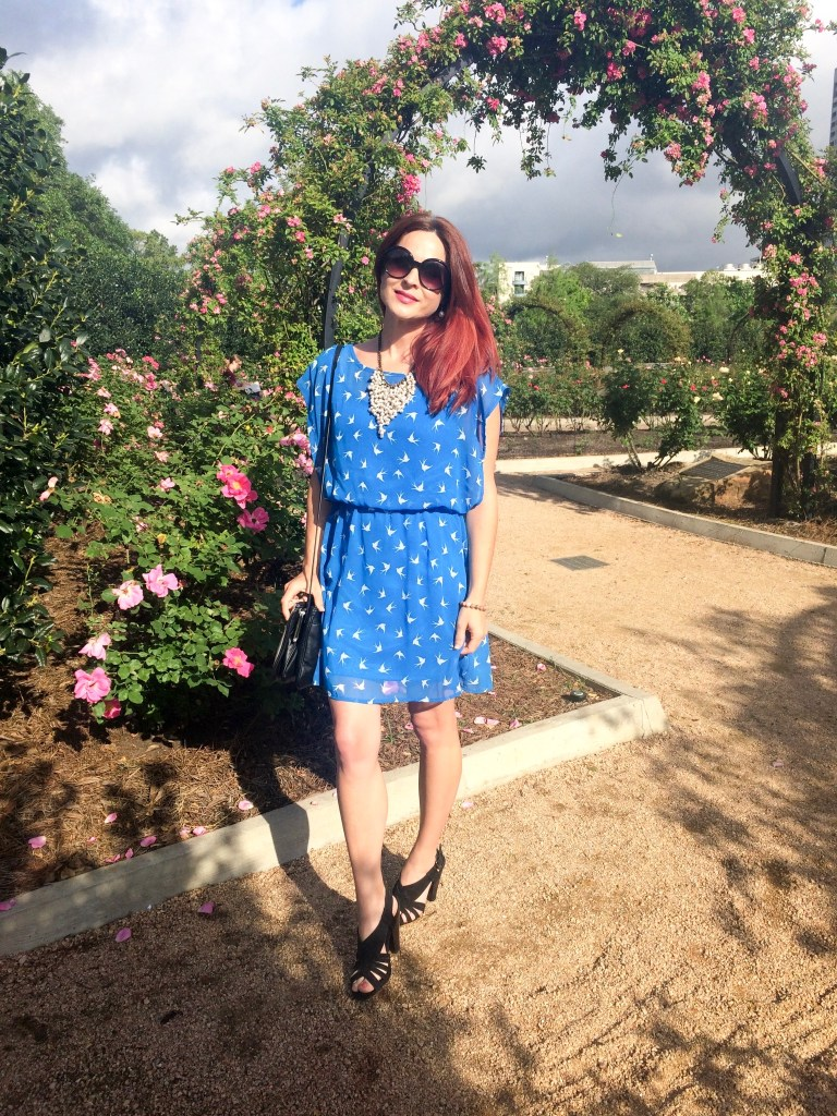 BLUE DRESS WITH BIRDS, BLACK SANDALS, FOREVER 21 DRESS