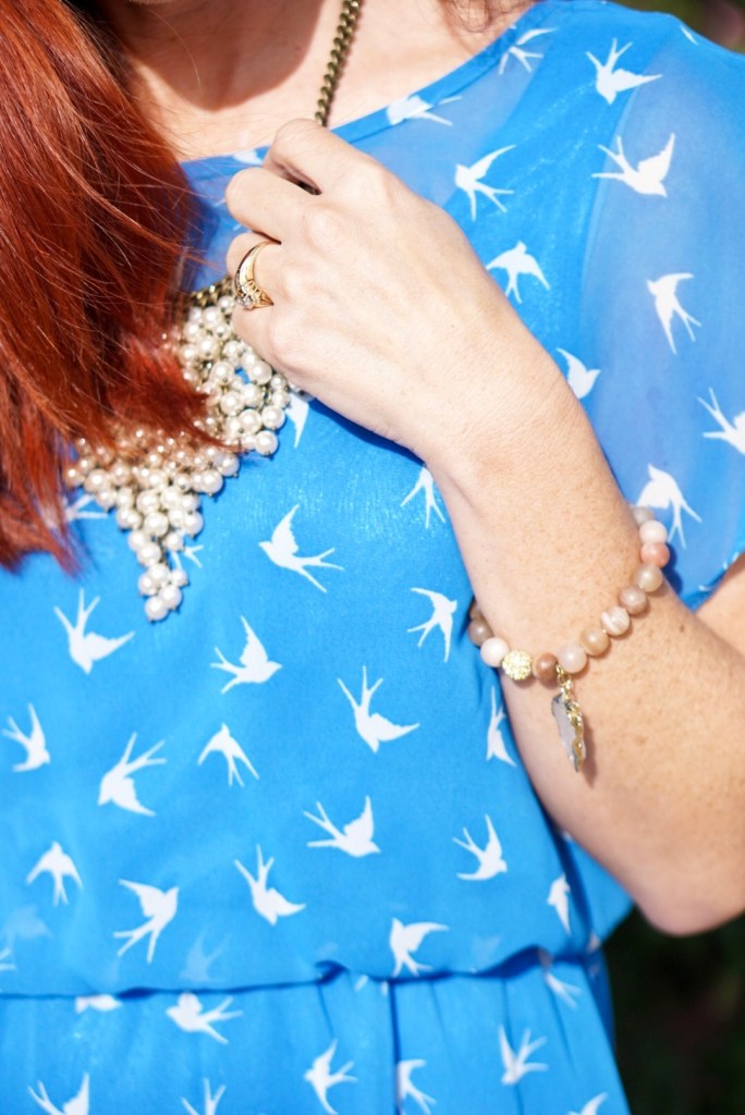 BLUE DRESS, BIRD PRINT DRESS, FOREVER 21, PEARL BIB NECKLACE, BURDLIFE BRACELET