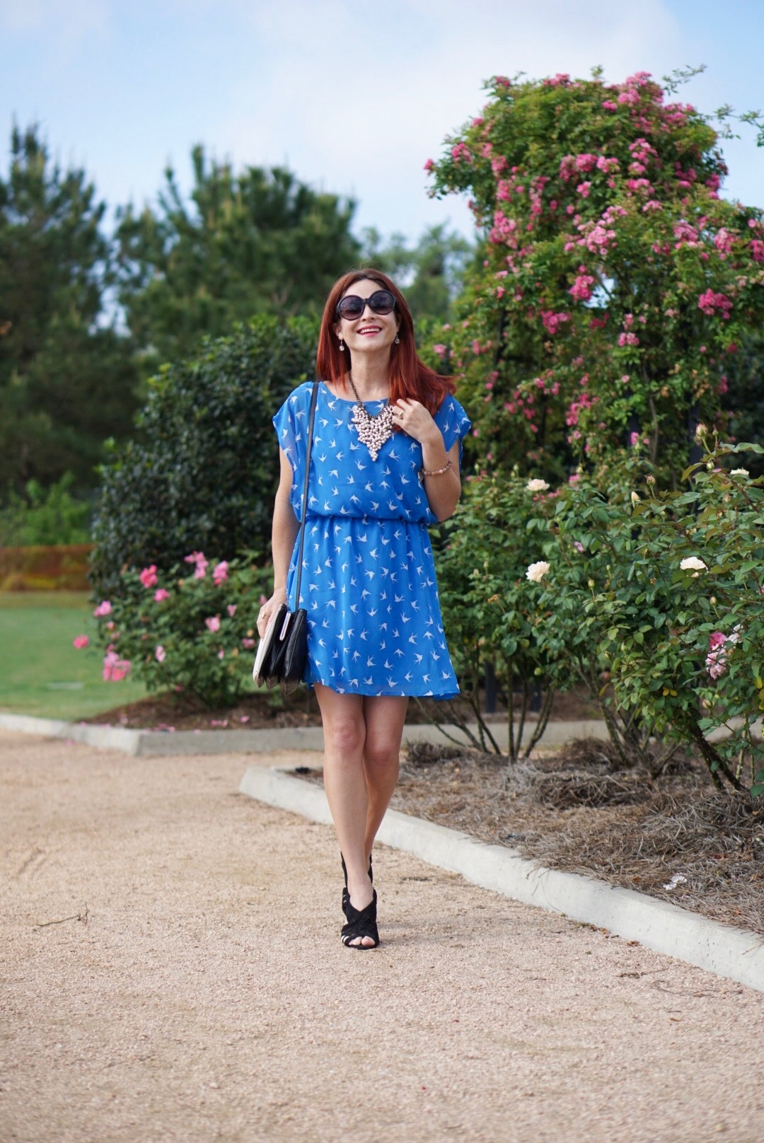 BLUE BIRD DRESS, BLACK SANDALS, FOREVER 21, BIB NECKLACE, MCGOVERN CENTENNIAL GARDENS