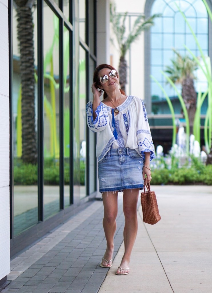 casual outfit, blue and white top, jean skirt