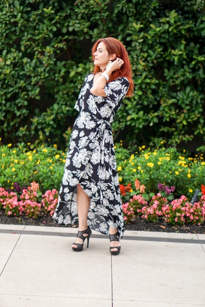 black and white floral, wrap dress, high low hem