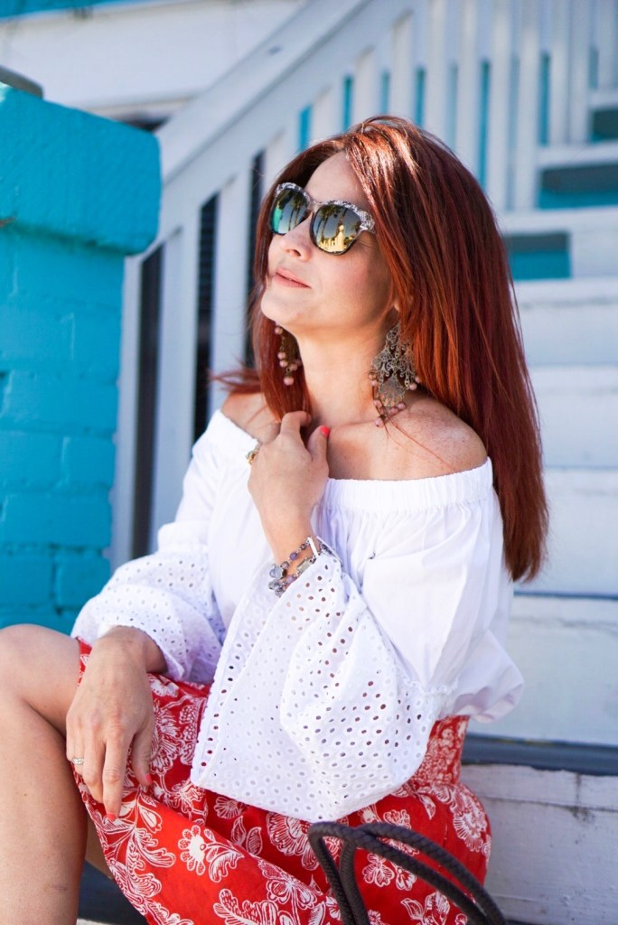 overcoming struggles with special needs, cat eye snglasses, who what wear, off the shoulder shrt, eylet sleeves, red hair, galveston island