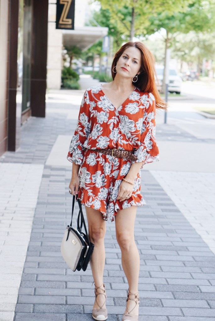 target outfit, who what wear collection, floral romper, transition to fall outfit inspiration