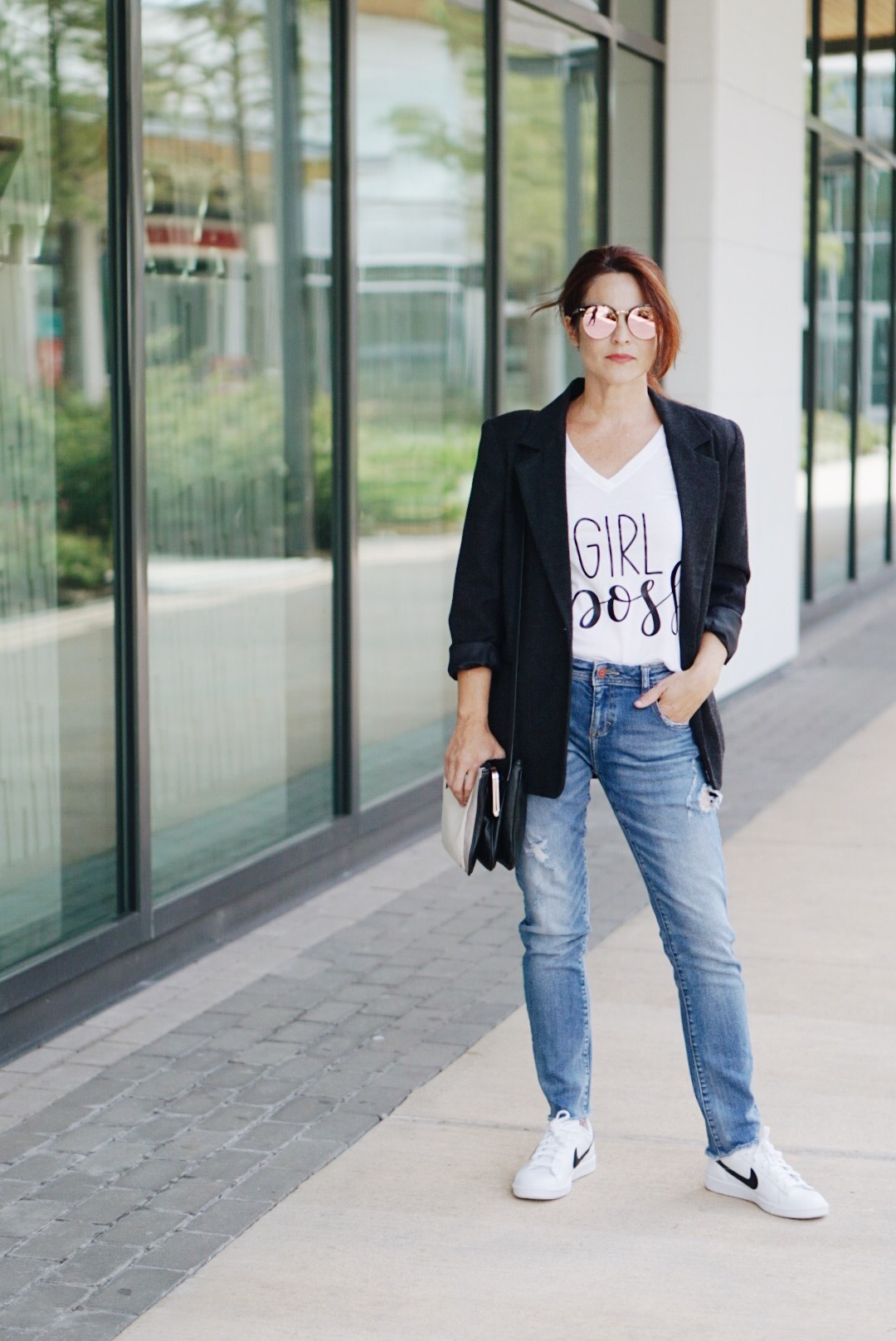 distressed denim, long blazer, nike, sneakers, minimalist style, casual business inspiration