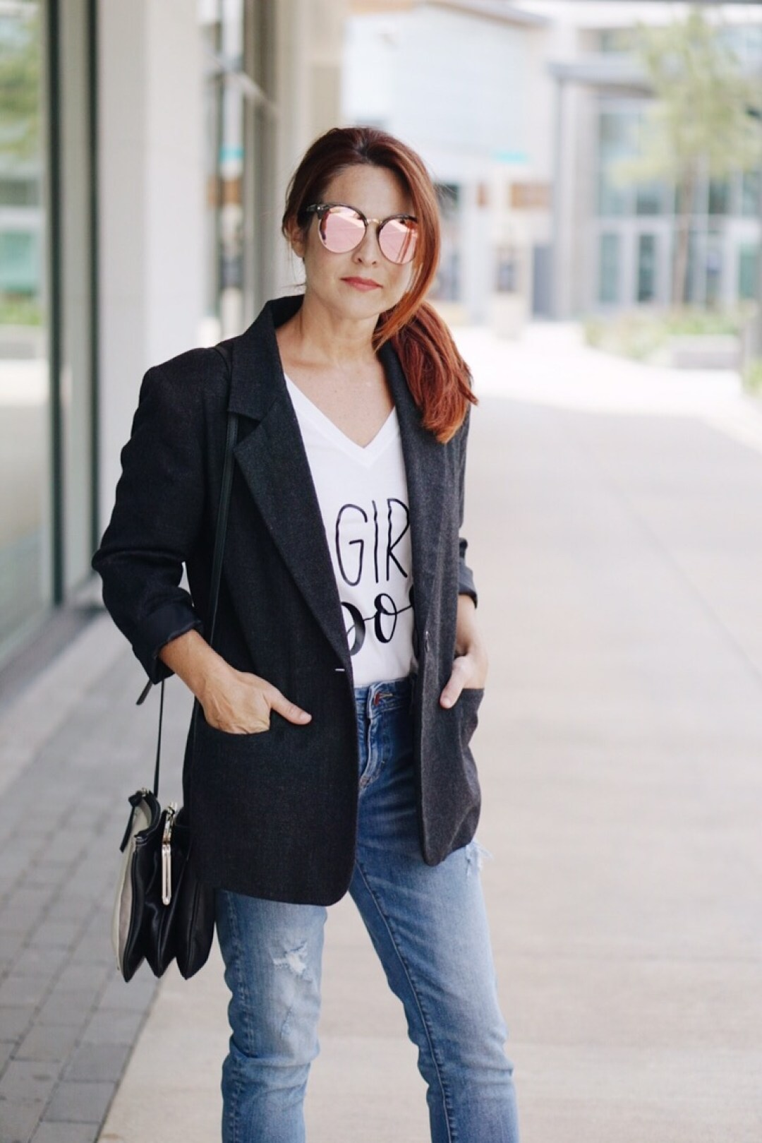 girl boss tshirt, blazer and tshirt outfit, menswear inspired outfit, blazer, denim and tee inspo