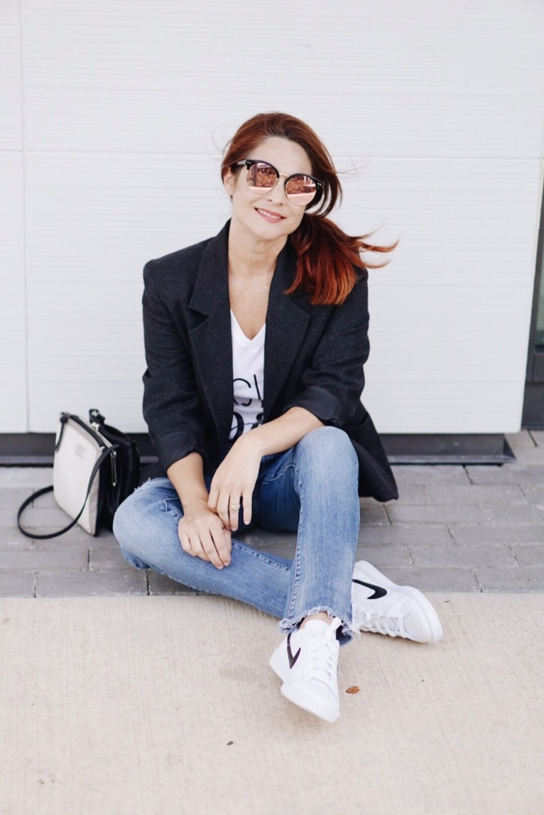 blazer, girl boss t-shirt, white nike sneakers, nine west bag, mirror sunnies, blazer and tee