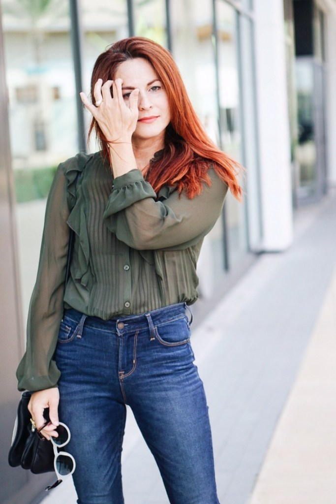 work appropriate outfit, olive green top, red hair, fall fashion inspiration, thanksgiving dinner outfit