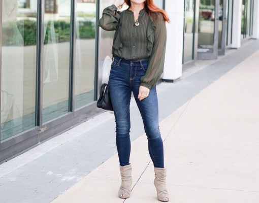 #slouchedbooties #highwaistedjeans #olivesheerblouse, #whowhatwearcollection #skinnyjeans slouched booties, high waisted jeans, olive blouse, fall fashion outfit ideas