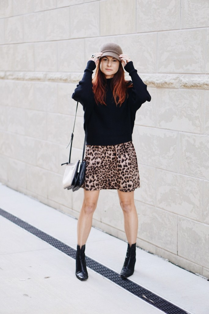 fiddler hat, batwing sweater, zara sweater, black booties, stuart weitzman, nine west bag