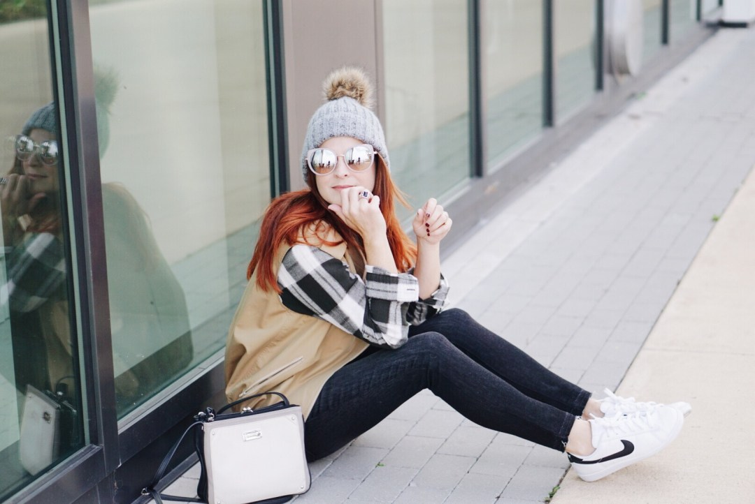 flannel, beanie hat, casual style, stay at home mom style, mirror sunnies, vest, plaid, chic style with sneakers
