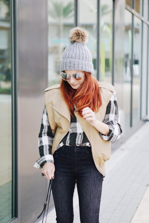 red hair inspiration, beanie hats, winter hats, black and white flannel plaid, high waisted black jeans, styling with a utility vest, fall fashion