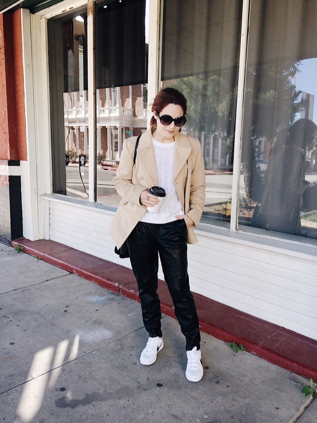 peacoat outfit ideas, casual outfits, leather pants, street style, tan coats