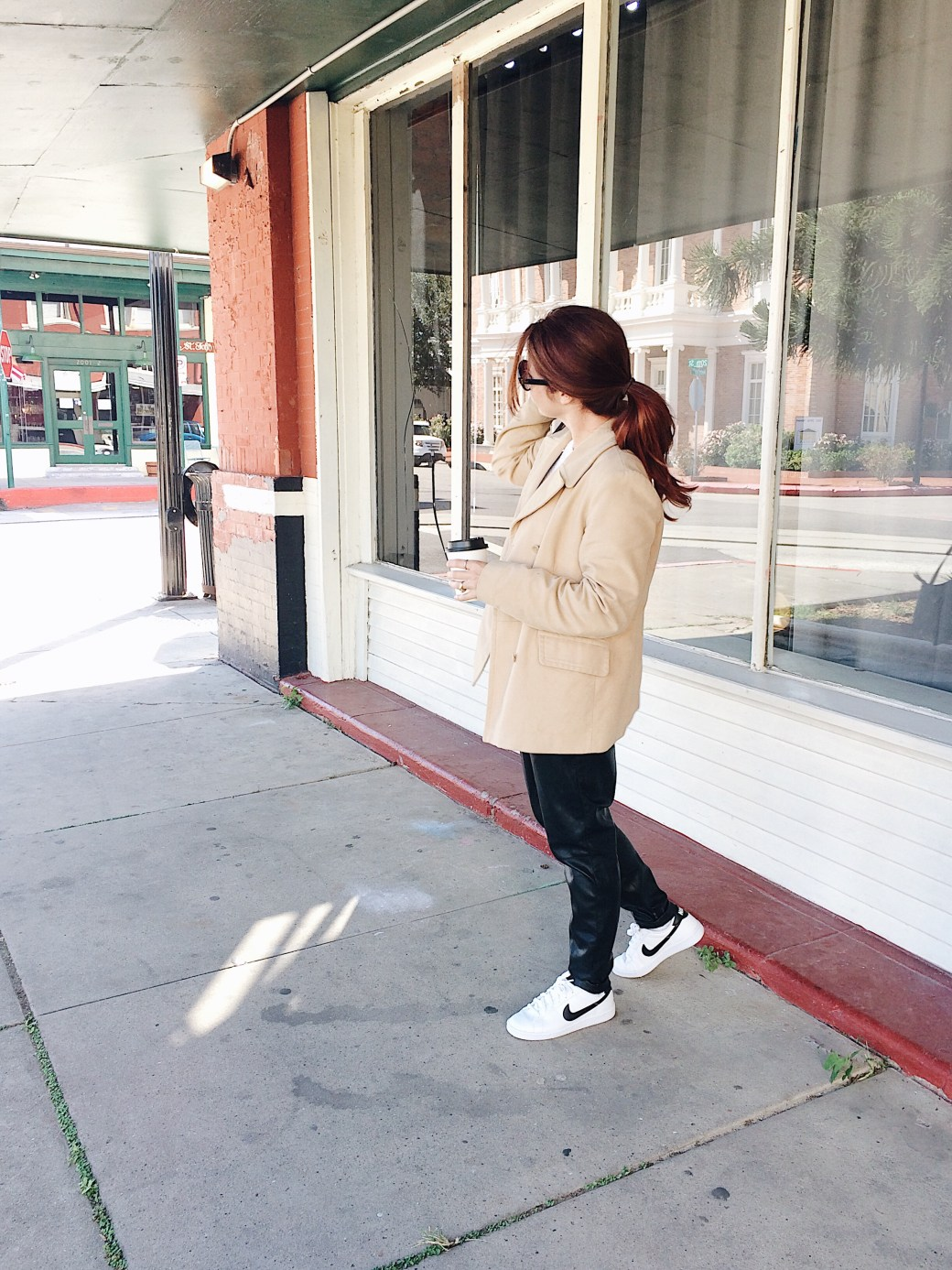 casual style ideas, leather pants, nike sneakers, peacoat,