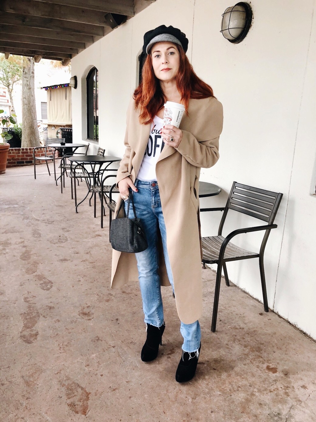 duster, shawl collar coat, winter coats, distressed jeans, coffee t shirt, velvet booties, wool bag, baker boy hat, coats