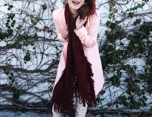 pink duster, burgandy scarf, beige boots, over the knee boots, 5 fun facts