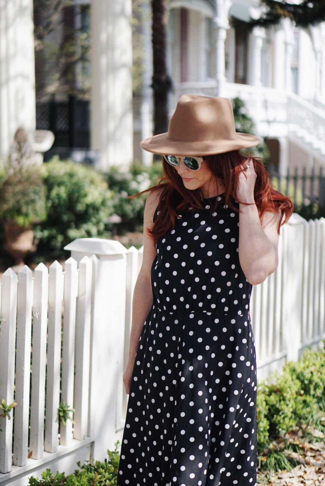 dresses with polka dots, brown suede fedora, red hair inspo, polka dot dress outfits