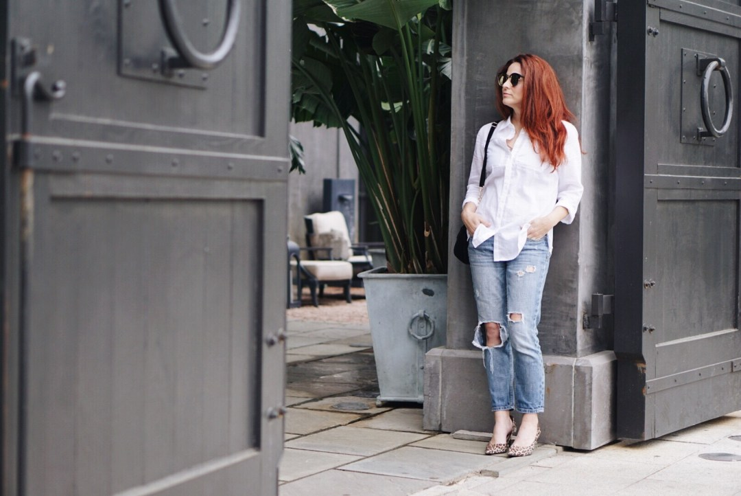 distressed denim, style rut options, casual style, white oxford shirt, boyfriend jean outfits, leopard shoes